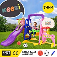 Keezi Kids Play Set Playground Outdoor Indoor Slide Swing Basketball Hoop Soccer