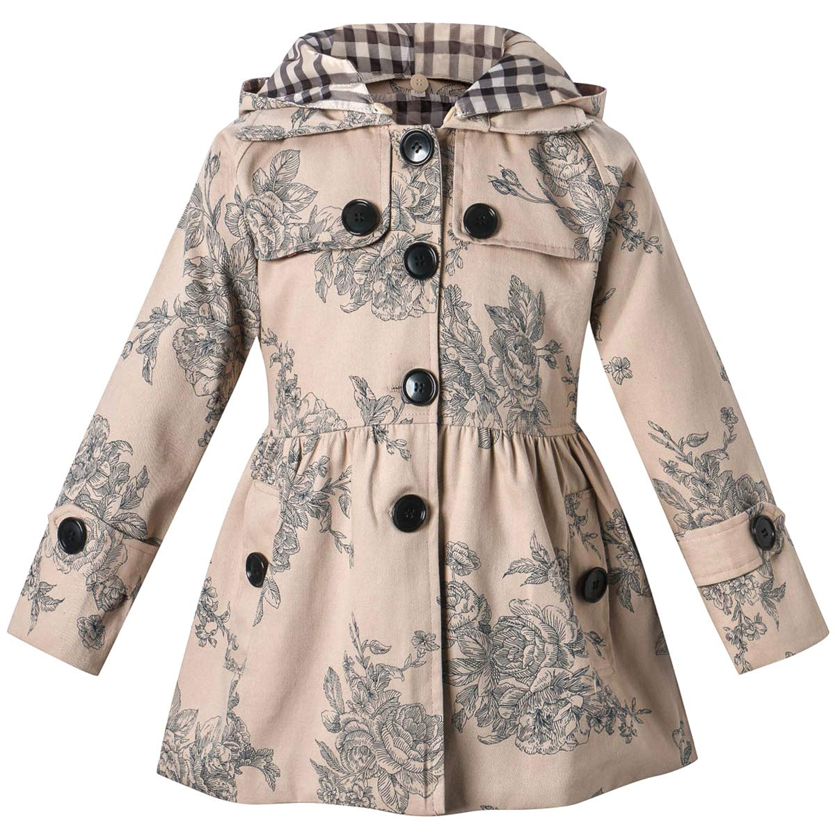 Long Sleeves Vintage Floral Print Chino Cotton Hooded Hoodie Trench Coat Outerwear Windbreaker for Little Girls & Big Girls, A-Flower Khaki, 7-8 Years=Tag 140 by BINPAW