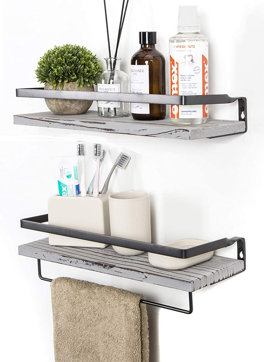 SODUKU Floating Shelves Wall Mounted Storage Shelves for Kitchen, Bathroom,Set of 2 Grey