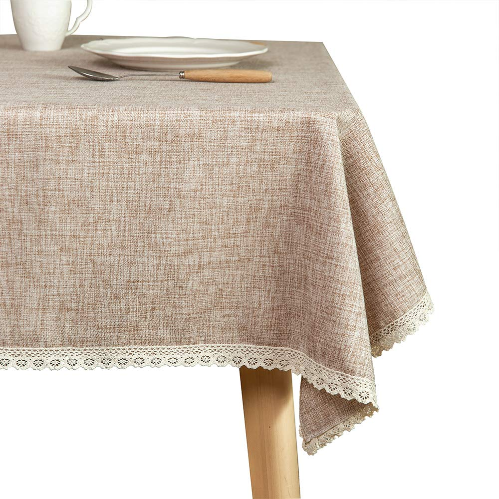 Glory Season Linen Rustic Burlap Washable Tablecloth,Solid Heavy Weight 60 x 102 Rectangle Overlay Lace Edge Table Cover for Kitchen Dinning Decoration