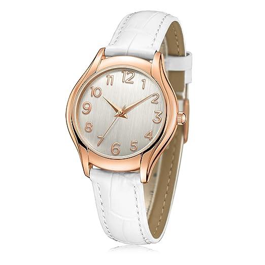 Reloj de pulsera para mujer, número romano de oro rosa Simple negocio casual de moda