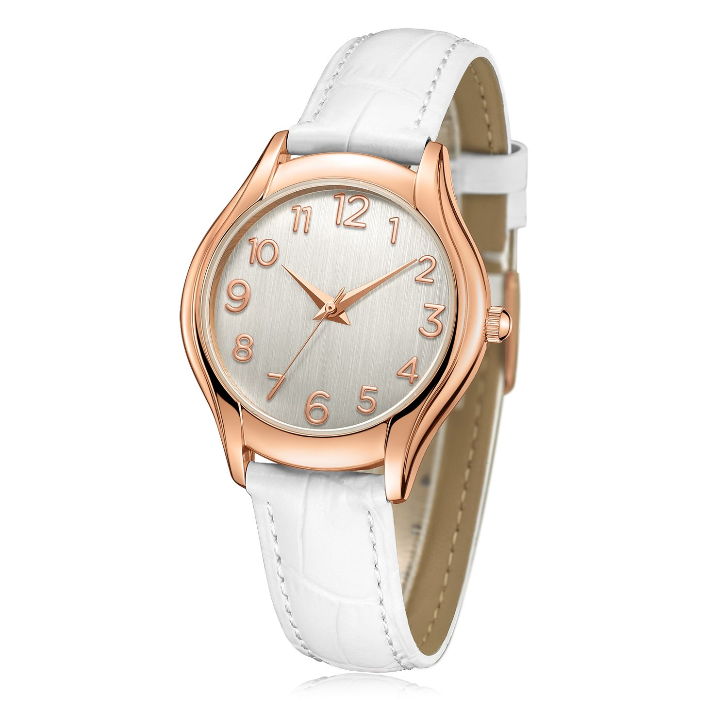 Women's Wrist Watch, Arabic Numeral Rose Gold Simple Business Casual Fashion Classic Analog (Quartz) Watches with Genuine Leather Band C74614 (White)