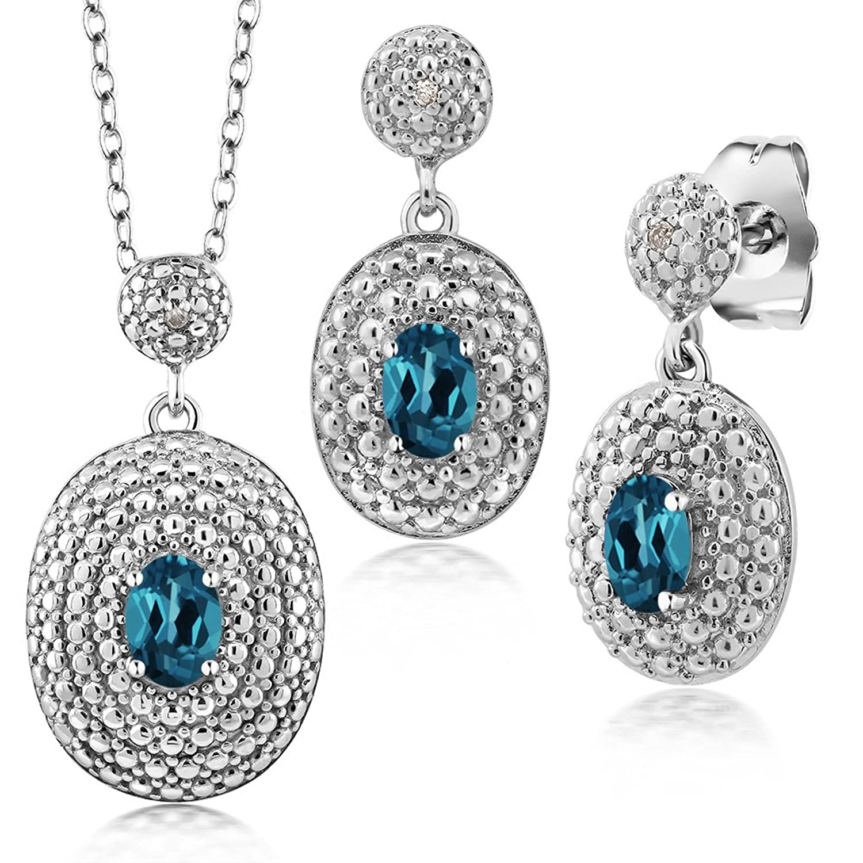 1.52 Ct Oval London Blue Topaz and Diamond Rhodium Plated Pendant Earrings Set