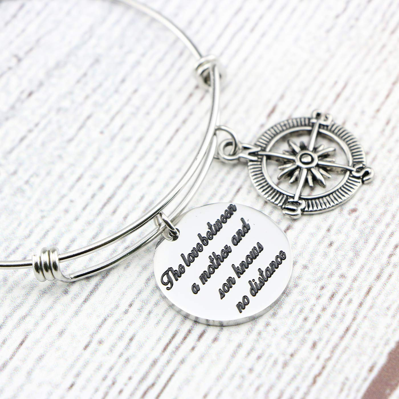 Memgift Gift for Mother Stainless Steel Bracelet The Love Between a Mother and Son Knows No Distance by Memgift (Image #4)