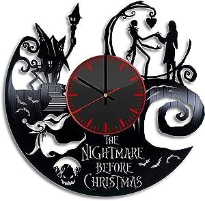 The Nightmare Before Christmas Vinyl Clock - Jack Skellington Halloween Town Vinyl Records Wall Art Room Decor Handmade Decoration Party Supplies Original Gift- Vintage Modern Style (Black & Red)