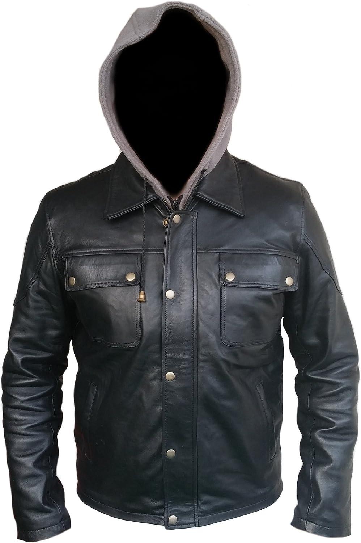 Blazrd Mens Terminator Black Real Leather Hoodie Jacket
