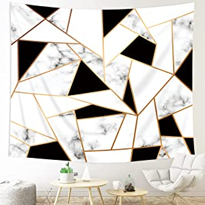 Kewwe Abstract Marble Tapestry Wall Hanging Black and White Geometric Surface 59Wx51H Inch Cracked Pattern Gold Stripe Triangle Texture Artwork for Bedroom Living Room Dorm Decor Fabric