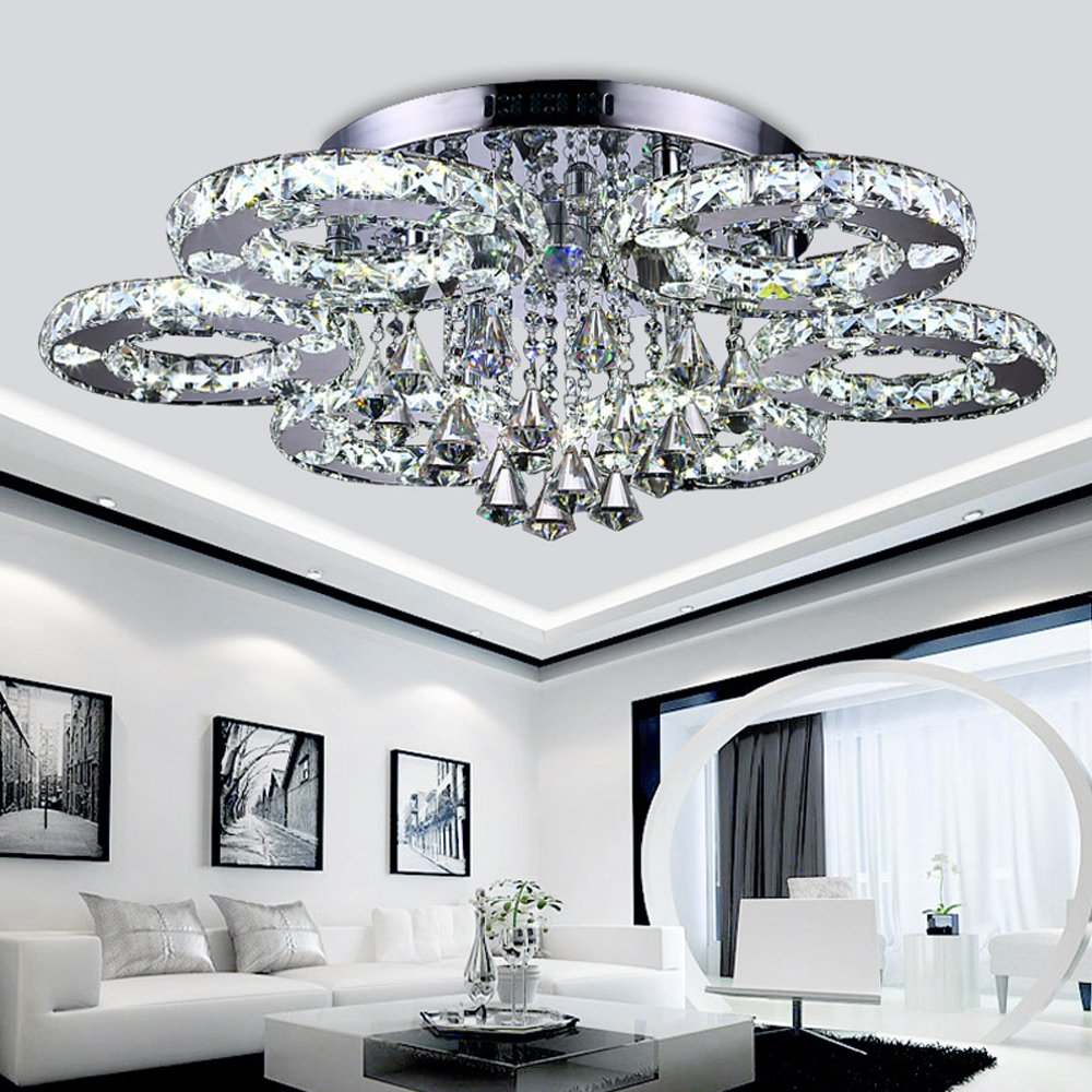 Hengda® Luxus Design Kristall Deckenleuchte Farbwechselfunktion 88W 6 Ringe  Pendelleuchte Ø80cm LED Hängeleuchte Für Wohnzimmer Esszimmer: Amazon.de:  ...