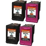 VIVINK Remanufactured HP 302XL 302 Cartucce d'inchiostro 2 Nero/2Tricromia per HP OfficeJet 4657 3830 4650 3833 3834 4658 4655, HP DeskJet 2130 3630 3630, HP Envy 4520 4527 4522