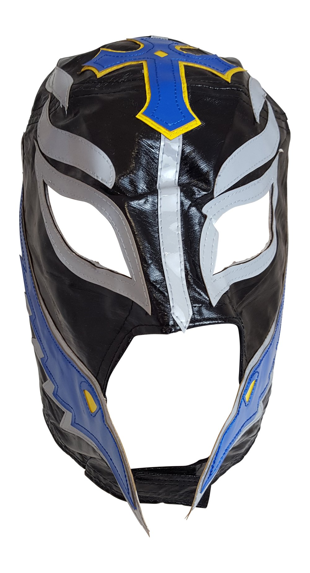 Lucha Libre Mask Adult Size Black Blue and Yellow Pro Wrestling by Extreme Wrestling Shirts