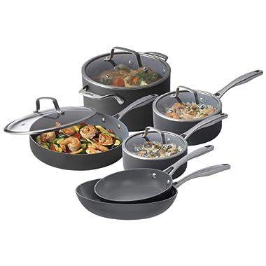 Bialetti 10 Piece Hard Anodized, Ceramic Pro Cookware Set, Nonstick Ceramic Interior, Gray