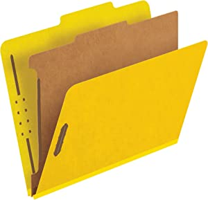 Pendaflex Classification Folders, Standard, 1 Divider, Embedded Fasteners, 2/5 Cut Tab, Yellow, Letter Size, 10/BX (23734)
