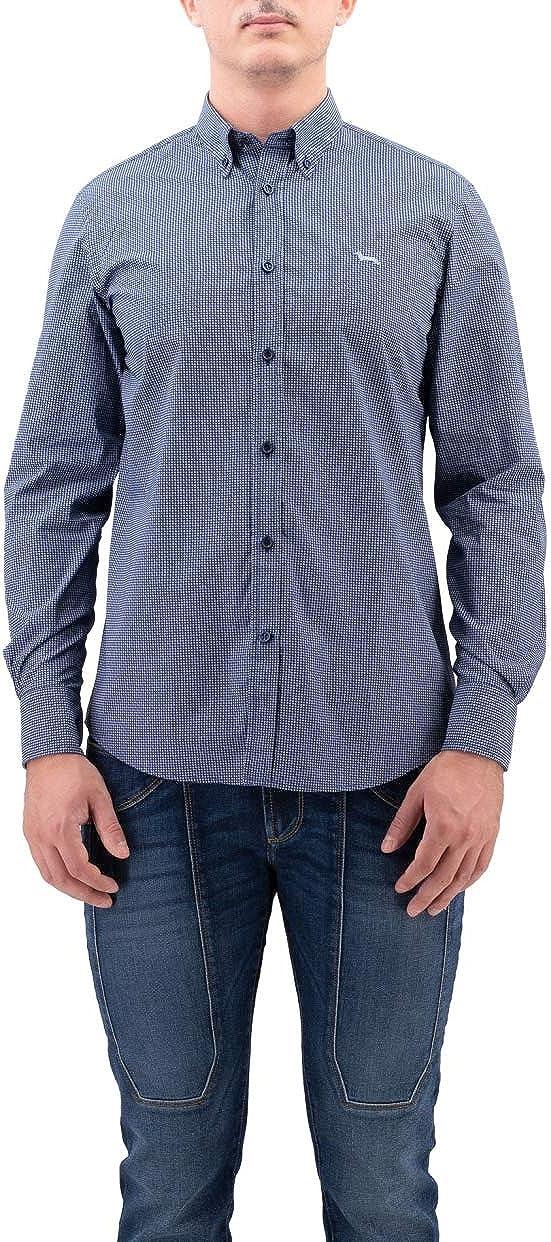 Harmont & Blaine - Camisa azul de algodón de microfibra ...