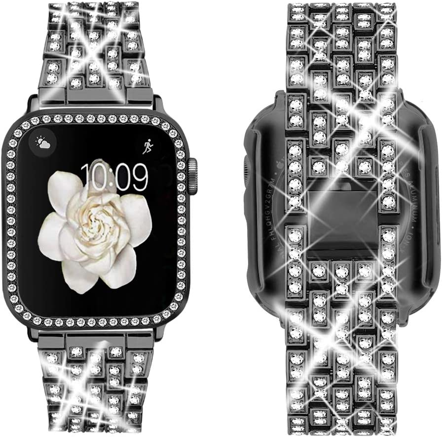 Supoix Compatible with Apple Watch Band 38mm 40mm 42mm 44mm + Case, Women Jewelry Bling Diamond Replacement Metal Strap & Soft PC Bumper Protective Case for iWatch Series 5/4/3/2/1(Black)