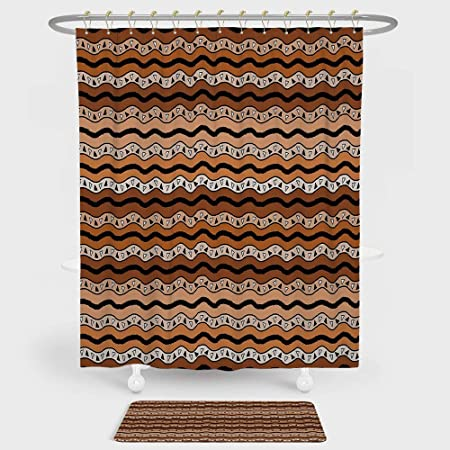 IPrint Zambia Shower Curtain Floor Mat Combination Set Tribal Pattern Wavy Lines Geometric Triangles Kenyan Art