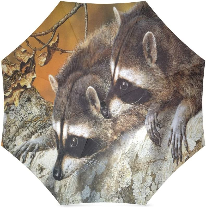 Custom Cute Raccoons Compact Travel Windproof Rainproof Foldable Umbrella