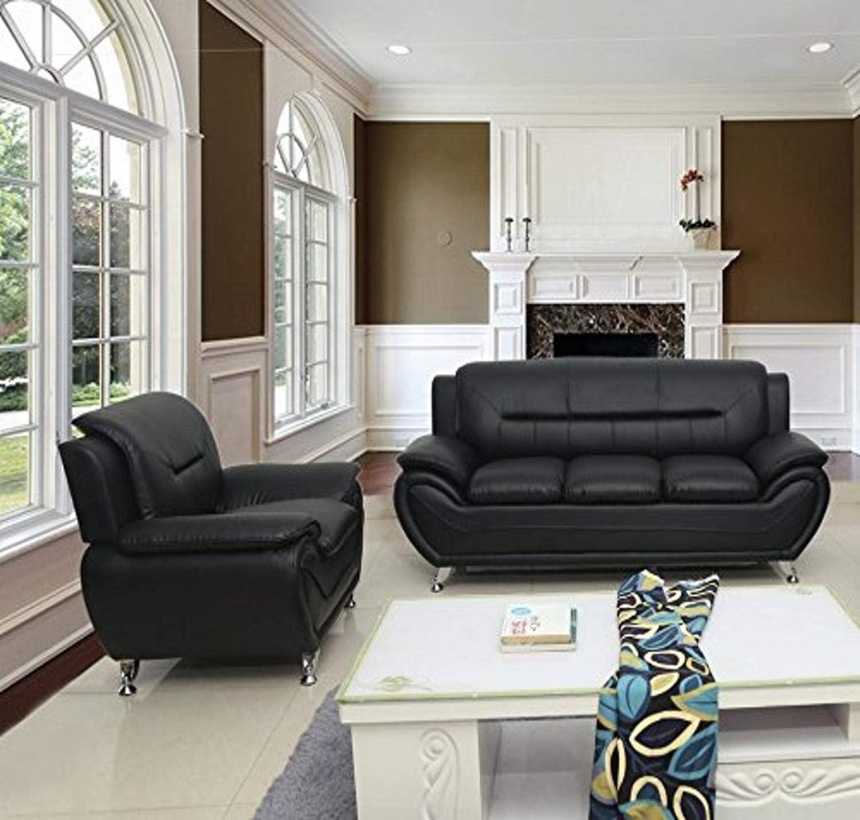 US Pride Furniture Sofa and Chair, Black