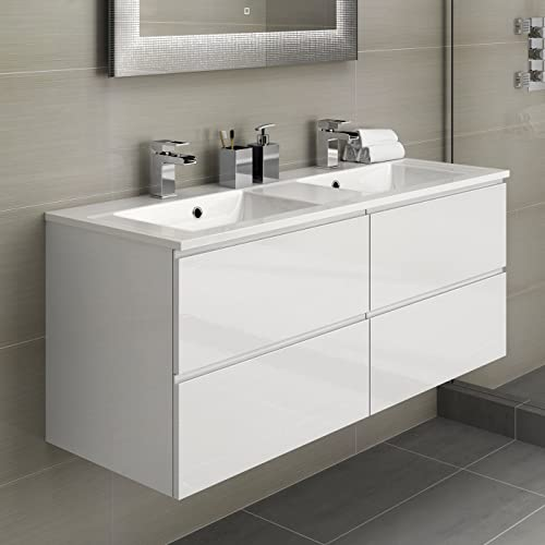 double sink bathroom vanity rustic his hers double bathroom vanity sink unit wall hung basin soft close storage furniture units amazoncouk