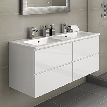 bathroom vanity sink units. His  Hers Double Bathroom Vanity Sink Unit Wall Hung Basin Soft Close Storage Furniture