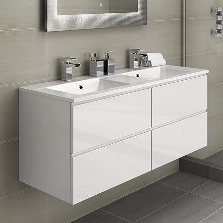 double bathroom vanity sink. His  Hers Double Bathroom Vanity Sink Unit Wall Hung Basin Soft Close Storage Furniture