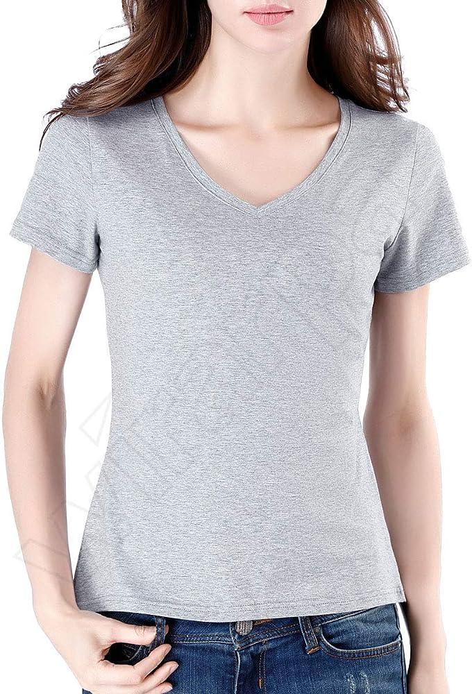 wirarpa Mujer Camiseta Básica de Algodón Gris XL: Amazon.es: Ropa ...