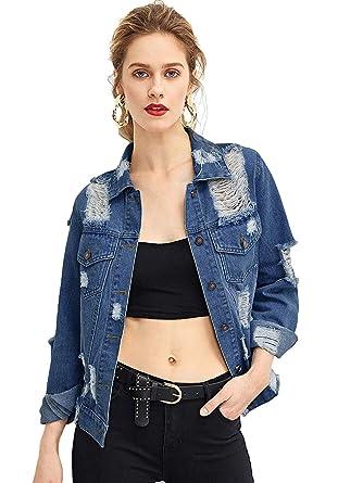 176e48512f Floerns Women's Causal Long Sleeve Wash Distressed Jean Denim Jacket ...