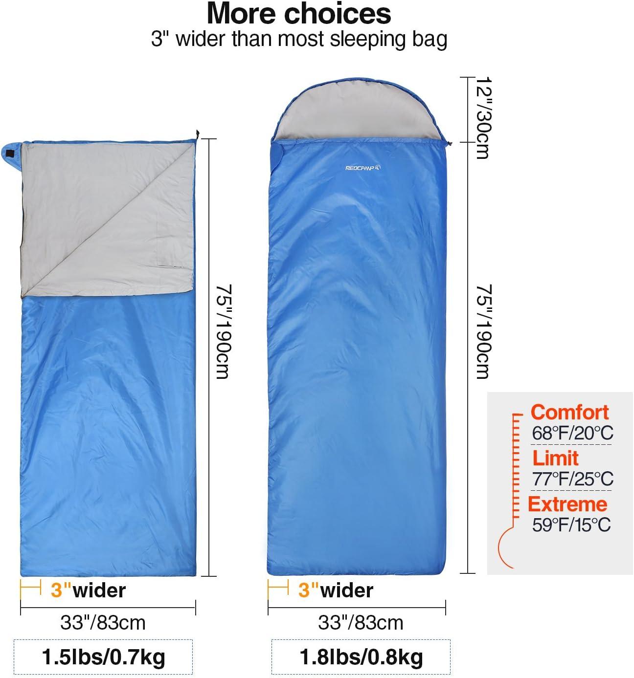 REDCAMP Ultra Lightweight Sleeping Bag For Comfort Adults