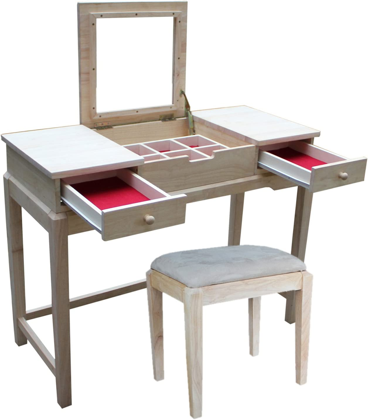 International Concepts, Unfinished Vanity Table with Bench