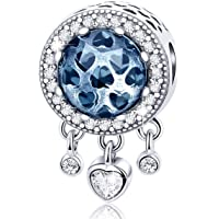 Forever Queen Dream Catcher Charm Genuine 925 Sterling Silver Dangle Heart Radiant CZ Crystal Bead fit Original Pandora Charm Bracelet and Necklace