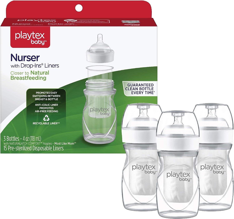 3pk of Playtex Drop In Nurser Bottles 8 oz w// Lids /& Nipples.