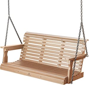 OT QOMOTOP Outdoor Porch Swing, Poly Lumber 3 Person Swing, Fade-Resistant Patio Swing with 600lbs Duty Rating, 304 SS Chains, All-Weather Garden Swing for Enjoying and Relaxing