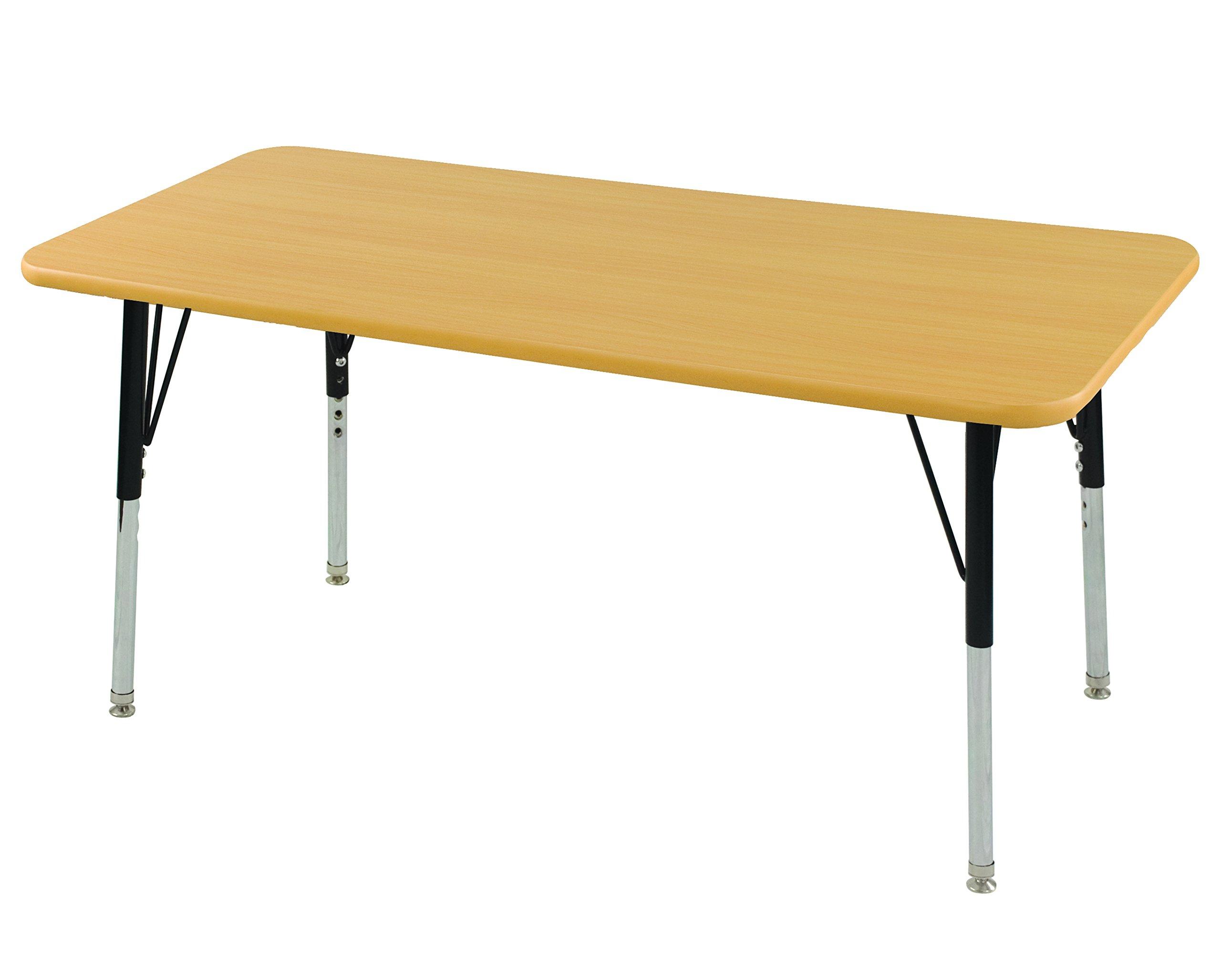 ECR4Kids Mesa T-Mold 30'' x 60'' Rectangular School Activity Table, Standard Legs w/ Swivel Glides, Adjustable Height 19-30 inch (Maple)