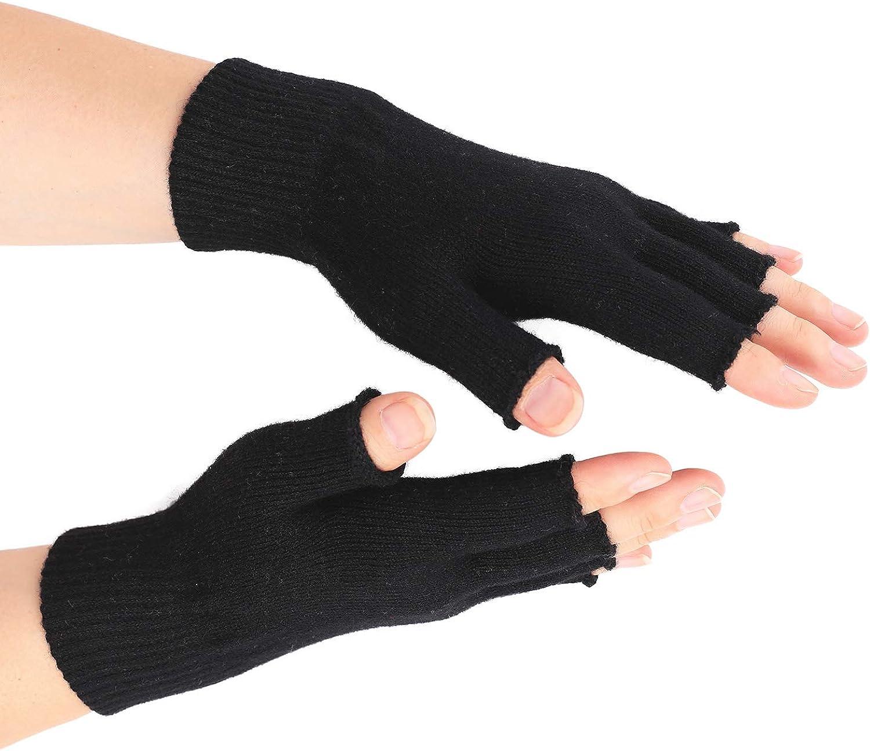 Flammi Women's Wool Knit Fingerless Gloves Plain Knit Basic Gloves