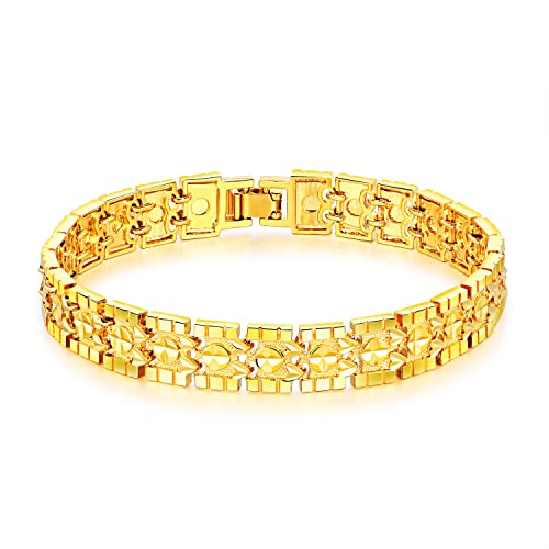 0f02f8dd8 OPK Jewelry Luxury Gold Plated Men's Bracelets Chain Link Bangle Gold  Bracelet 8.27 Inch