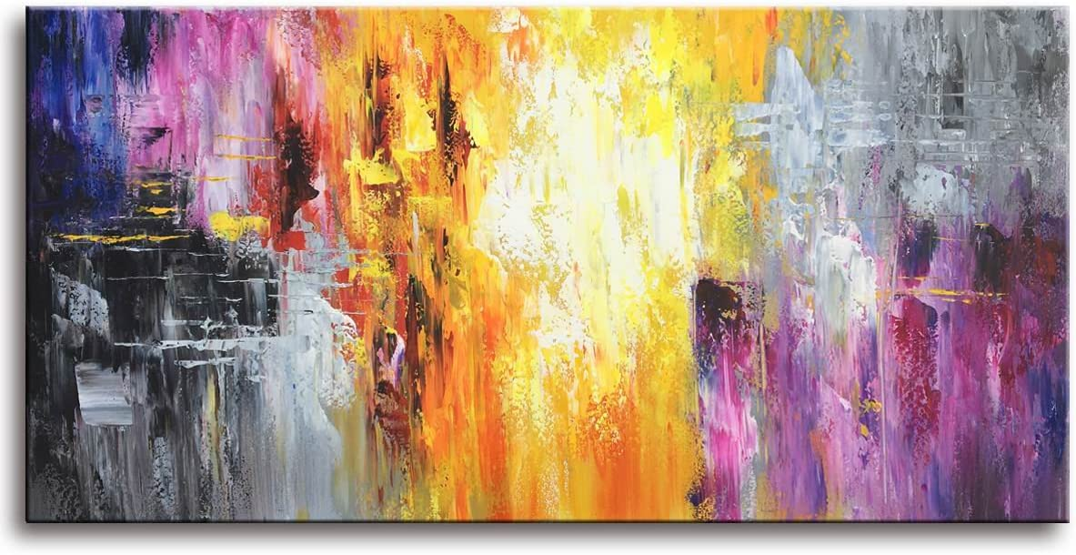MyArton-Hand-Painted Contemporary Art Oil Painting On Canvas Colorful Abstract Paintings Modern Home Interior Decor Artwork Picture Ready to Hang 24x48inch