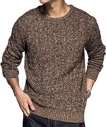 Rrive Men Long Sleeve Knit Crewneck Jumper Fashion Pullover Sweater