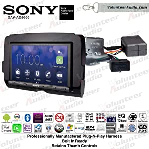 Sony XAV-AX5000 Double Din Radio Install Kit With Apple CarPlay, Android Auto, Sirius XM, Bluetooth For 2014-2017 Harley Davidson Motorcycles, May Not Work With CVO Models