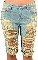 5f3eabf502 IP577 Womens Destroyed Vintage Bermuda Denim Shorts