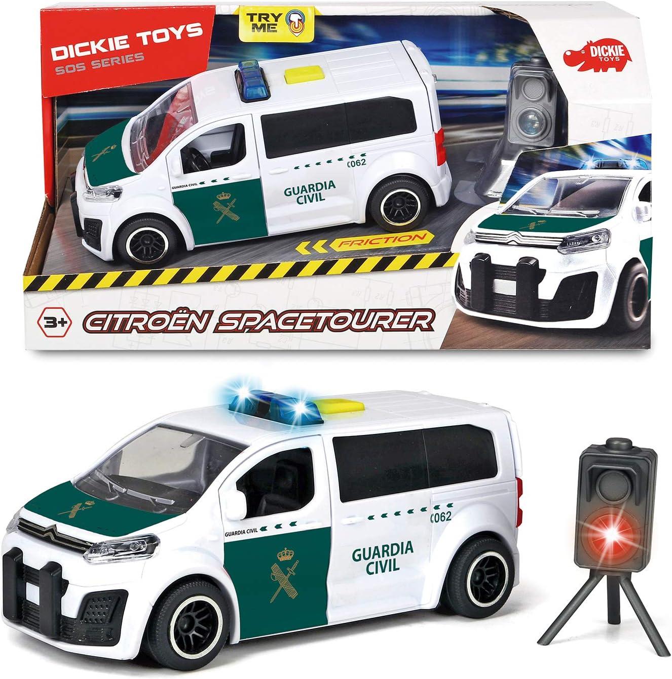 Dickie-Guardia Civil Furgoneta Citröen con Radar 15 cm 1153020 Vehículo de Juguete con función, Color Blanco/Verde