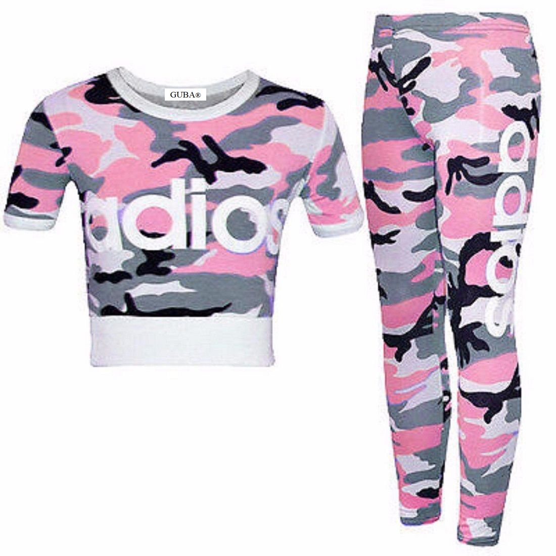 GUBA® Girls New Adios Athletic Camouflage Crop TOP & Legging Two Piece Set 7-13 Years