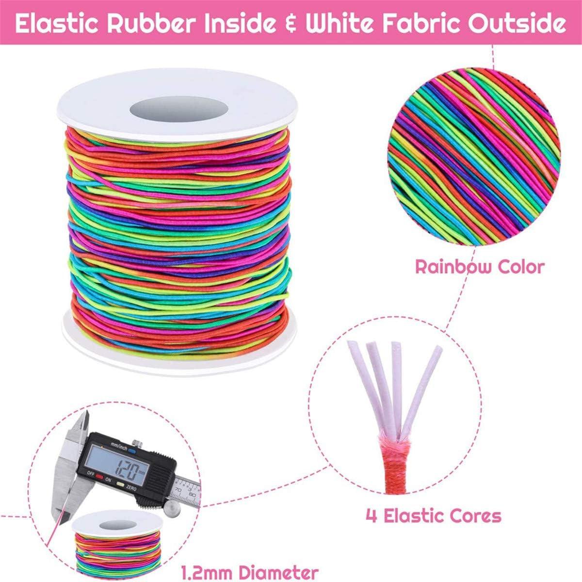 1 mm Beiswin Farbkern Elastische Stretchlinie Flexible Regenbogenfarbe Perlenlinie Stoff Marmorlinie Zum Dekorieren von DIY-Schl/üsselbundgeflechten