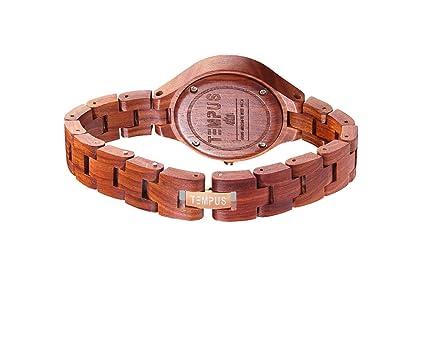 Amazon.com: Tempus Elenor - Rose Gold Red Sandalwood Womens Wood Wooden Bracelet Watch Fashion - TWW-03: Watches