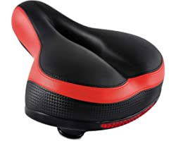 IPOW Comfort Bike Seat for Women or Men, Bicycle Saddle Replacement Padded Soft High Density Memory Foam with Dual Shock Abso