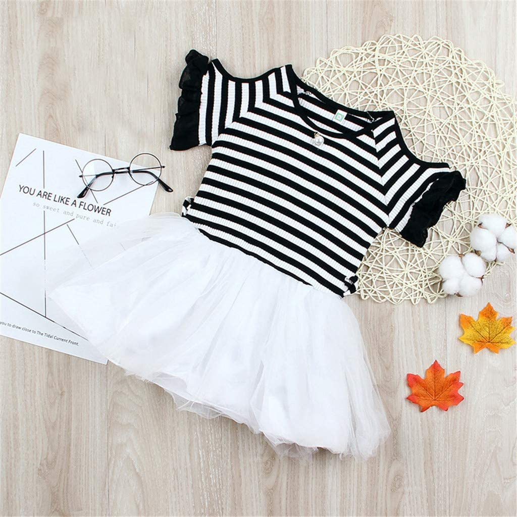 Newmao Infant Girl Summer Short Sleeve Ruffles Striped Tutu Dress Princess Party Dress