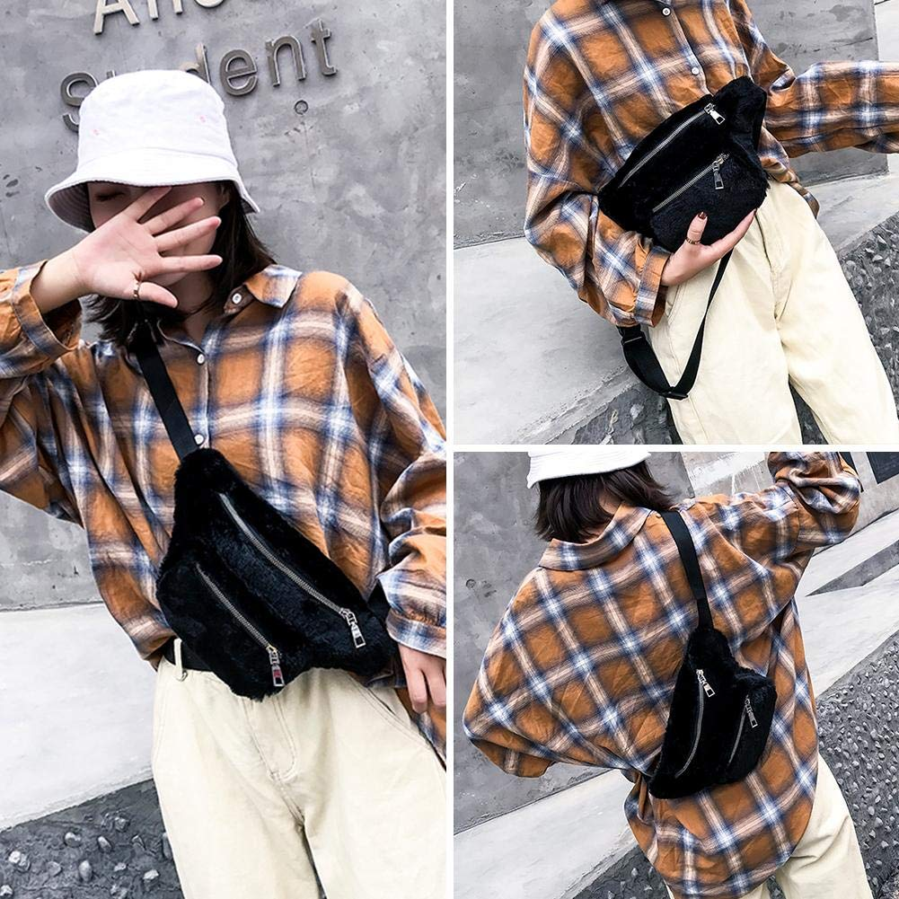 Black Women Faux Fur Fanny Waist Pack Winter Girl Belt Chest Shoulder Bags