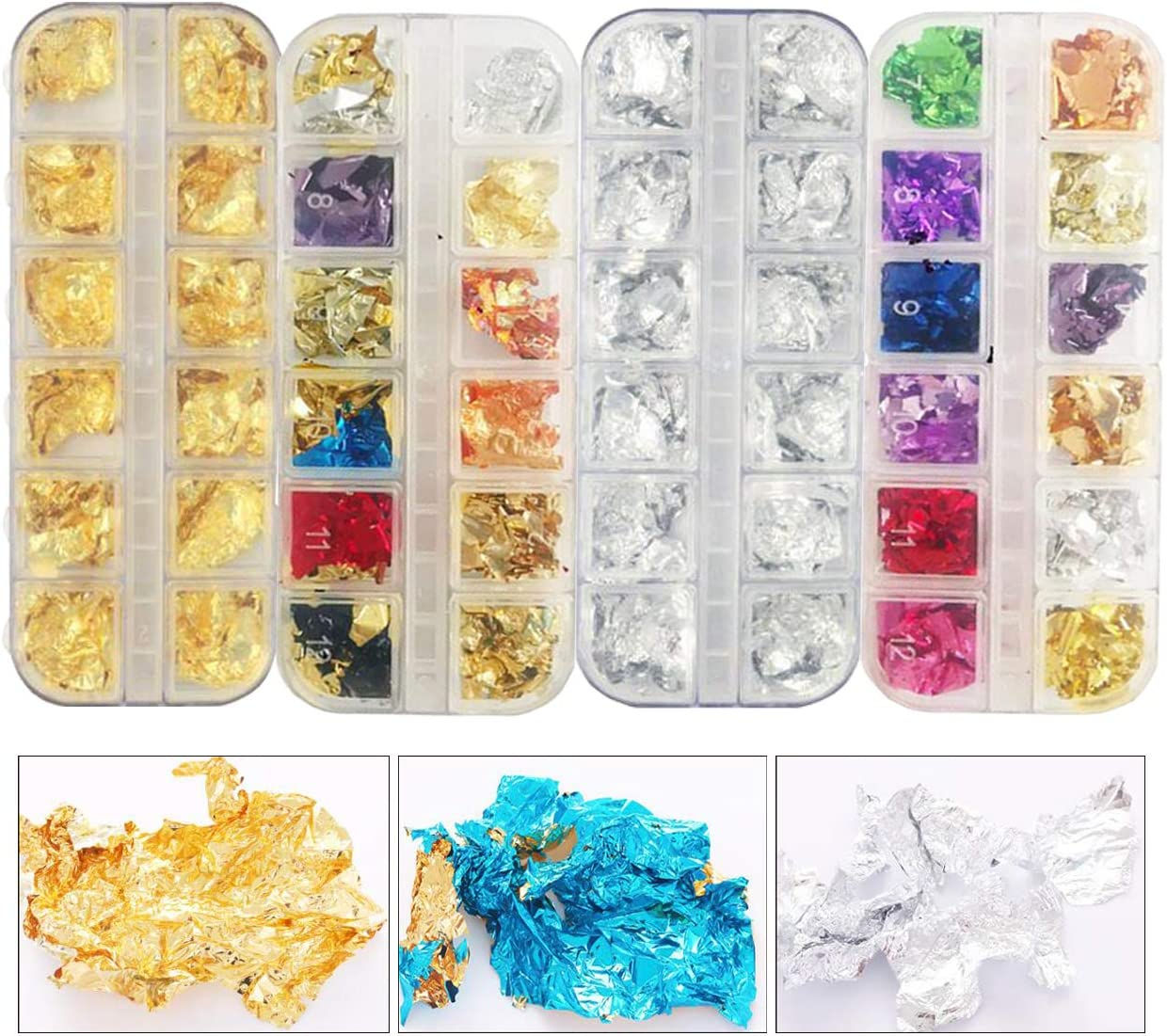 Amazon Com 4 Boxes Gold Silver Nail Foil Flakes Mixed Color Aluminum Foil Leaf Paper For Art Crafts Resin Gilding Painting Nail Art Diy Mixed Color Arts Crafts Sewing
