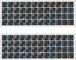 (2PCS Pack) Russian-English Keyboard Stickers, Keyboard Replacement Sticker Black Background with Blue Lettering for Computer Keyboard, Desktop Computer Laptops (Russian -White/Blue)