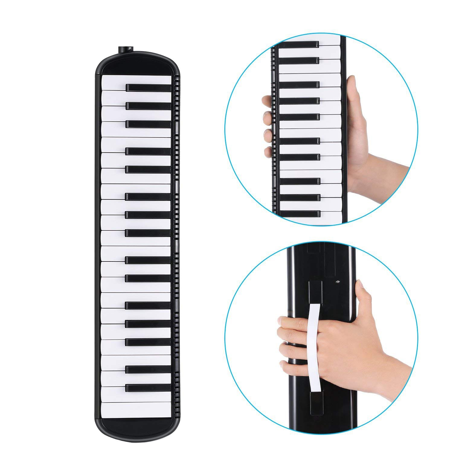 Timiy 32 Keys Melodica Piano with Mouthpieces Tube & Carrying Bag Musical Instrument Black by Timiy (Image #4)