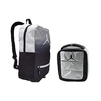 f40ac5b1b2370d NIKE Air Jordan Jumpman Kids Backpack   Insulated Lunch Tote Set  Black White Siver