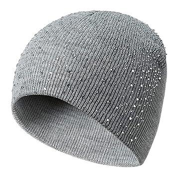 ZNZ Sombrero de Punto para Mujer Rhinestone Drilling Skullies ...